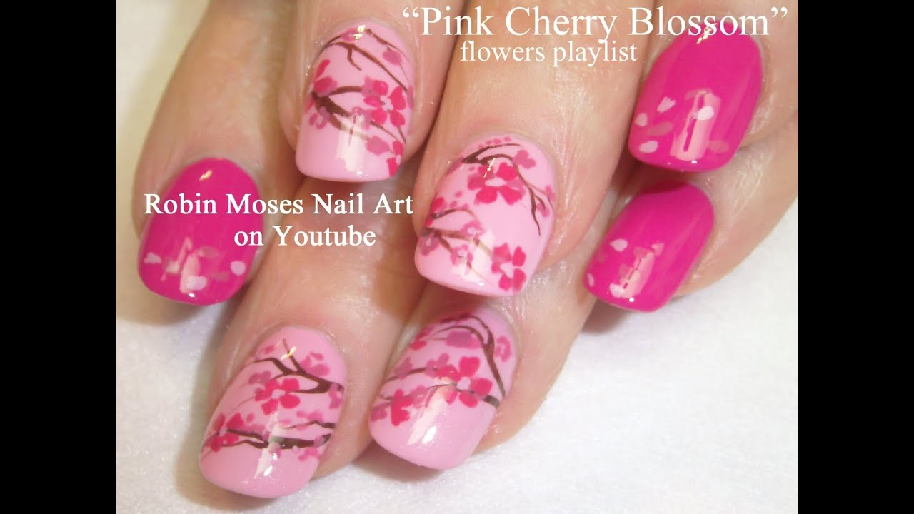 Diy Flower Nails Easy Pink Cherry Blossom Floral Nail Art Tutorial