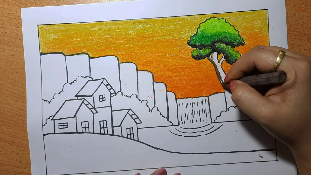 Vẽ tranh đề tài: VẼ TRANH NGÔI NHÀ XINH ĐẸP CẠNH THÁC NƯỚC I How to draw  house I Ong Mật Mỹ Thuật - Hướng dẫn tô màu và vẻ tranh ảnh