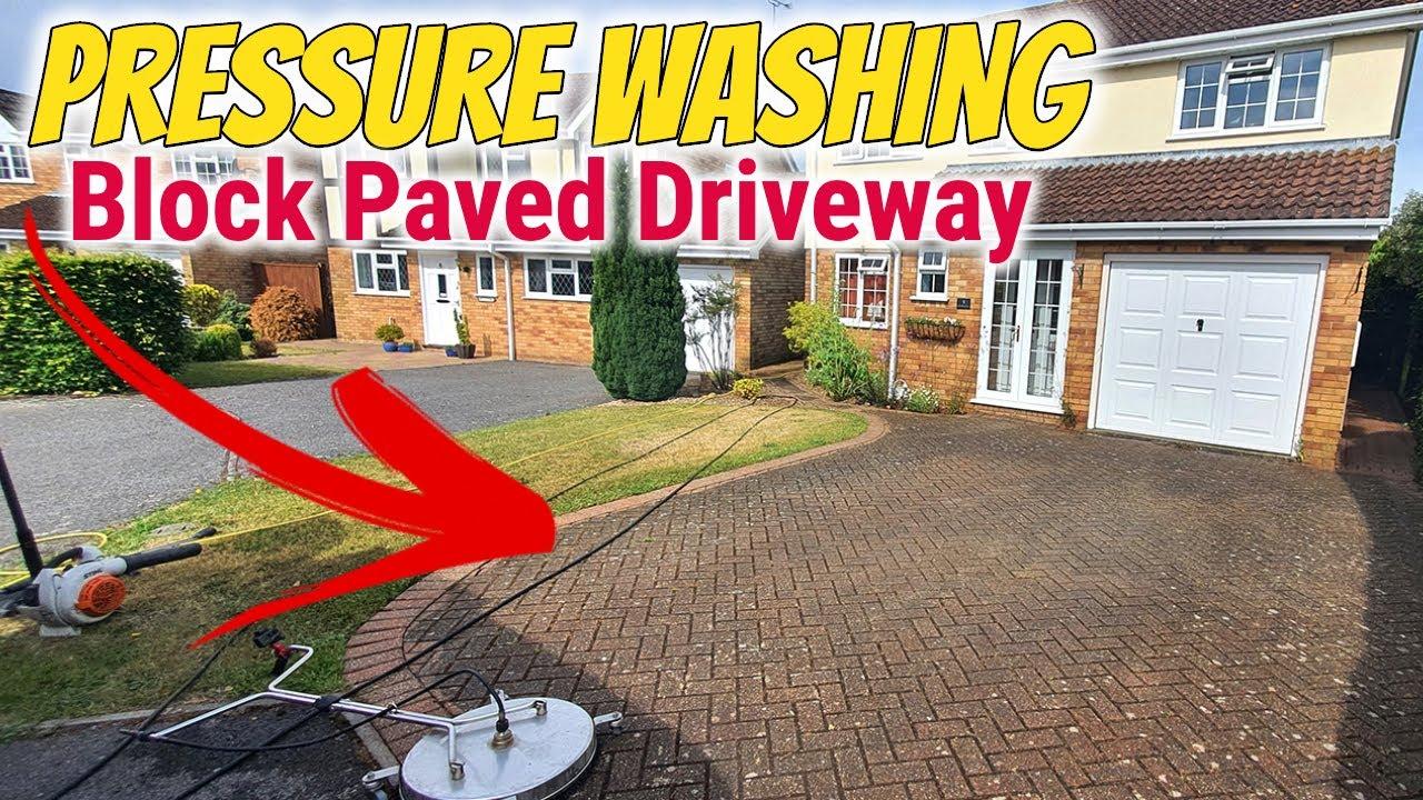 Block paving driveway pressure cleaning