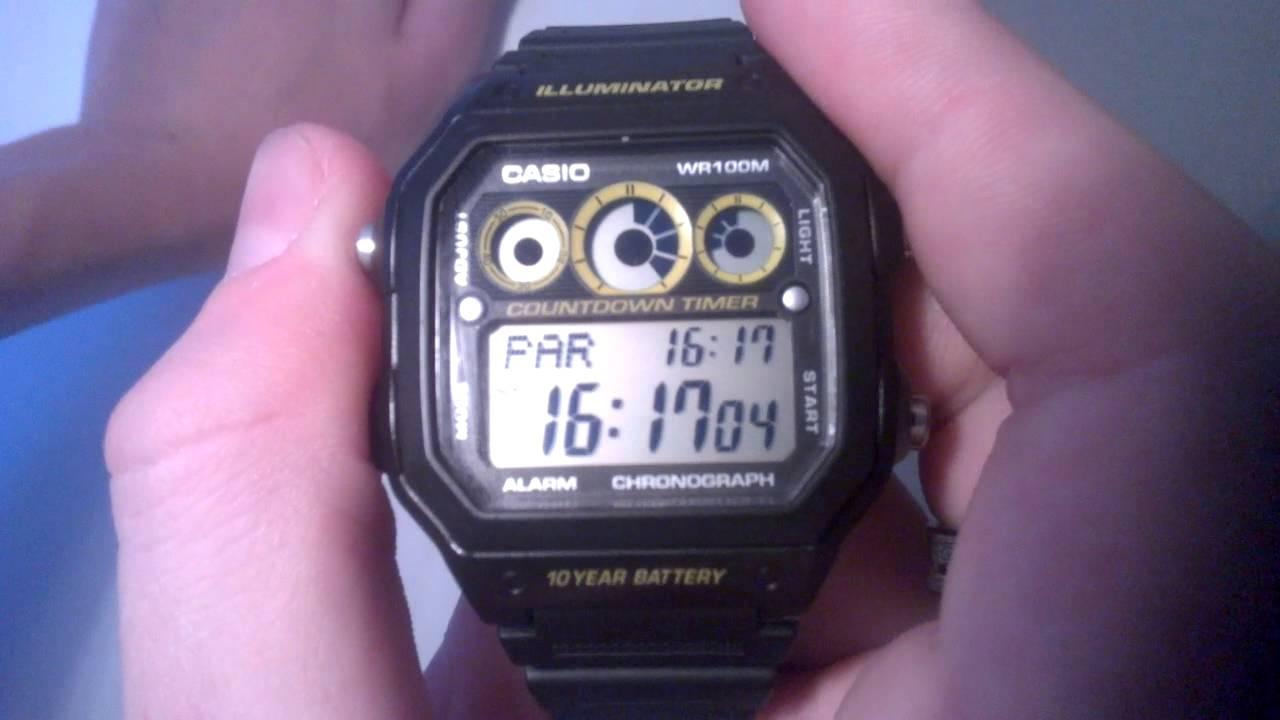 Návod na hodinky Casio AE-1300WH - YouTube ece0bab9bfc
