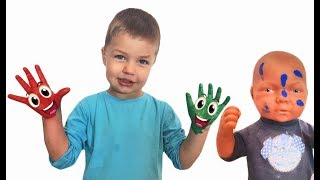 Richard and Max learn colors and playing in Colored Paints