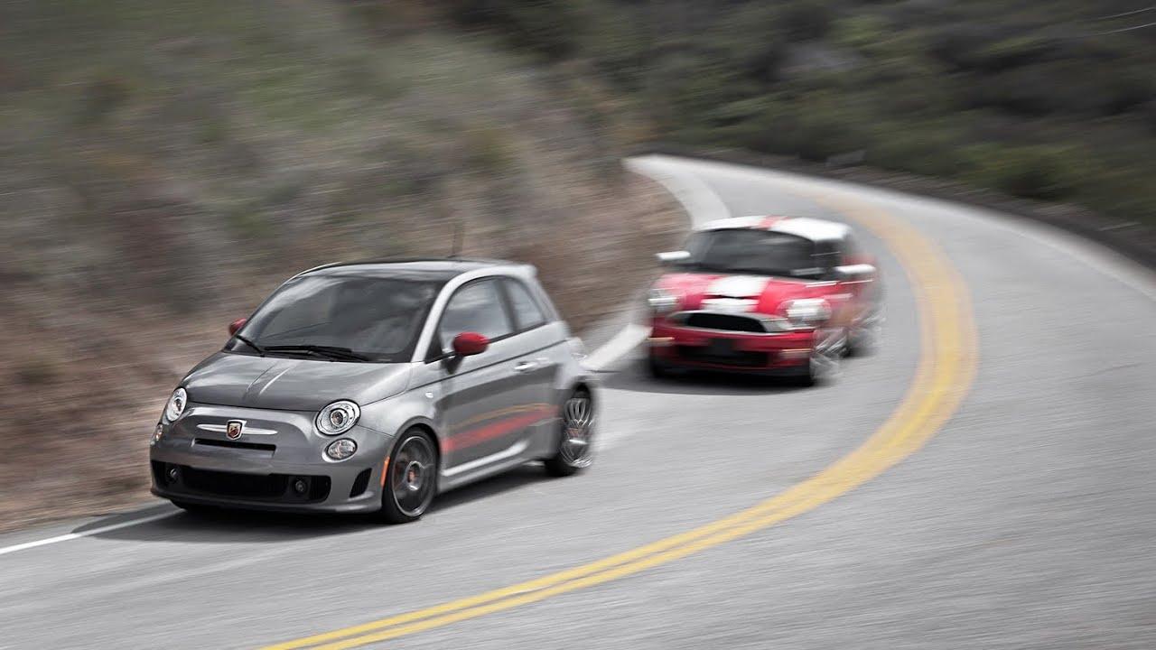 Fiat Abarth vs Mini Cooper S on Twisty Road - YouTube