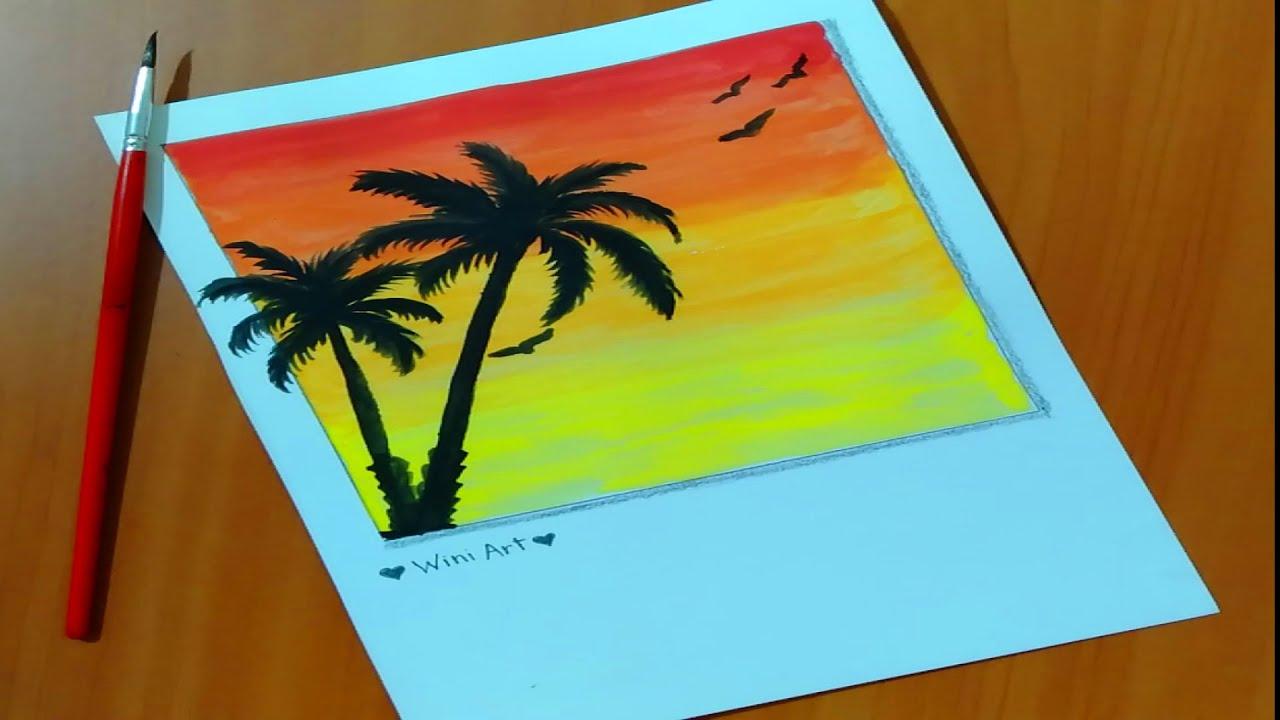 رسم بالالوان المائية تعليم رسم منظر طبيعي بالالوان المائية