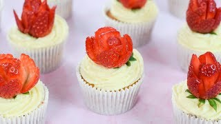 Strawberries & Cream Cupcakes with Strawberry Roses
