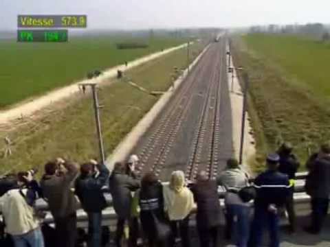 Fastest Train 574 km/h - watch the top left speed
