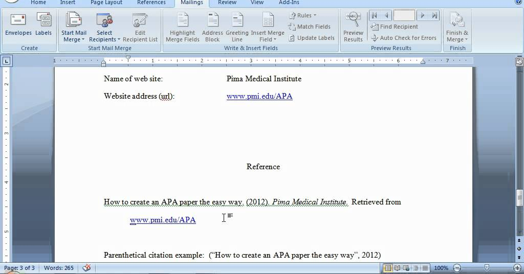 APA Format for a Website Reference - YouTube