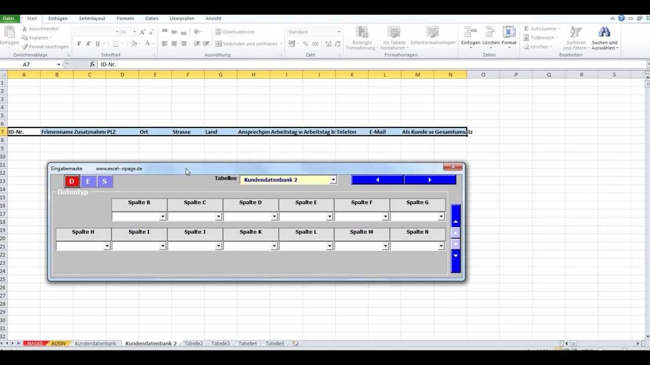 Datenbanken in Excel aus einer flexiblen Eingabemaske mit Zuweisung ...