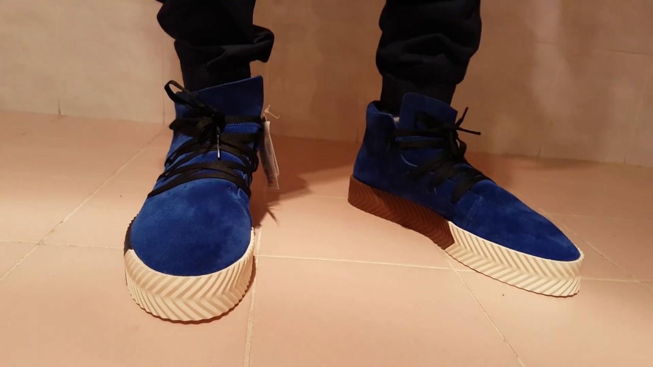 Adidas Alexander Wang aw skate mid blue on feet. 23c39a3e9