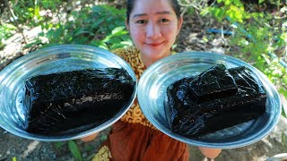 Yummy Black Jelly Dessert Cooking - Black Jelly Cooking Basil Seed Dessert - Cooking With Sros