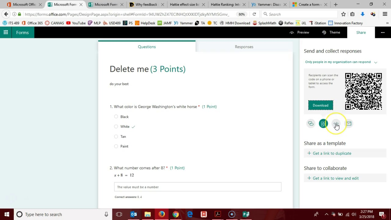 Office 365 Forms - Sharing Options - YouTube