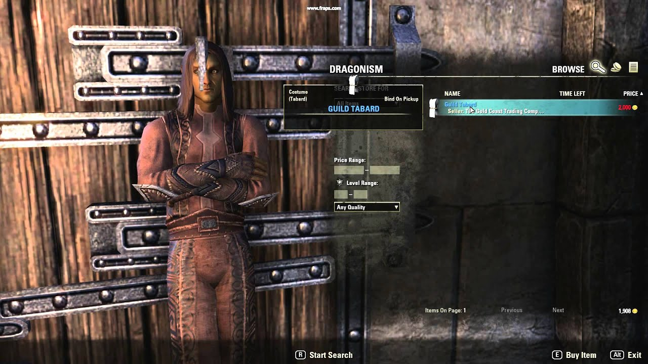 How To Buy A Tabard On Teso Dragonism Youtube