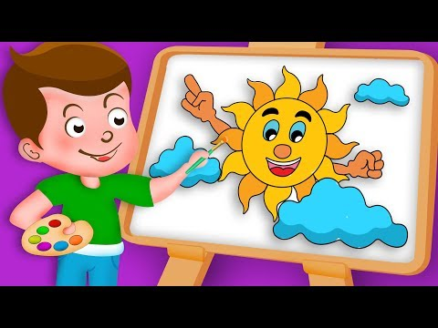 Drawing Smiling Sun and Cloud Drawing Paint And Colouring For Kids | Kids Drawing TV