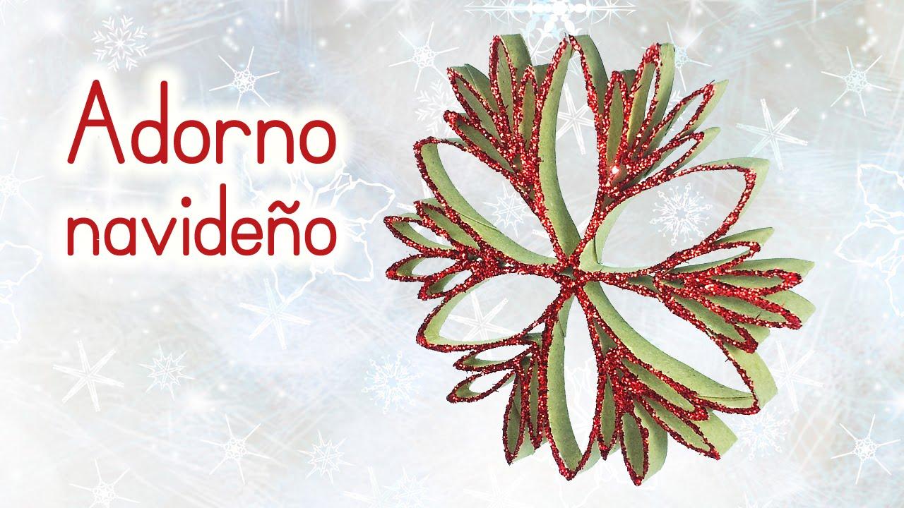 Manualidades para navidad adorno navide o reciclando - Adornos navidenos con rollos de papel higienico ...