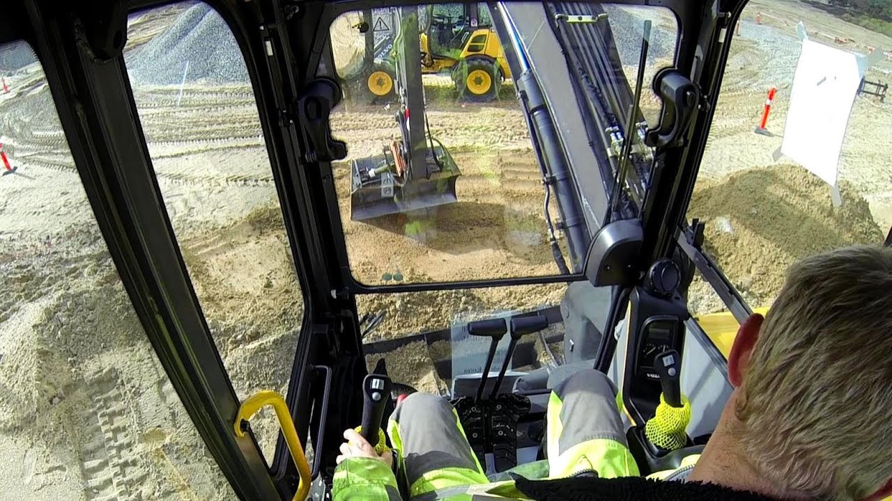 New Volvo ECR88D Zero Tail Excavator Test Drive: Cab View - YouTube