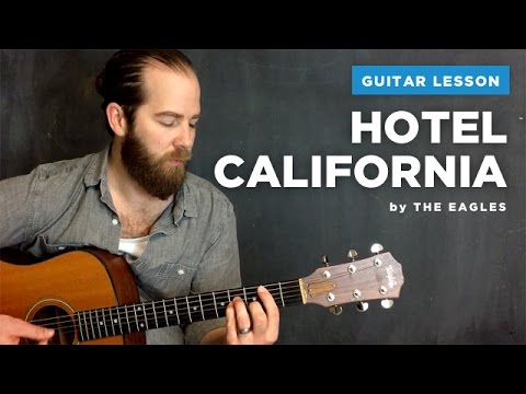 "Guitar lesson for ""Hotel California"" by The Eagles (acoustic, no capo)"