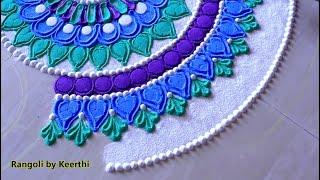 Beautiful rangoli design with colours l muggulu kolam rangoli l रंगोली डिजाइन l Top Rangoli designs