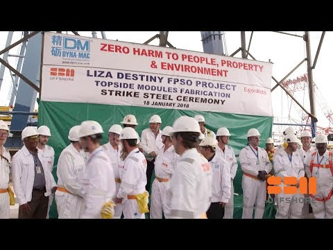 First-steel cut and safety-engagement events at yards for Liza FPSO construction - Long version