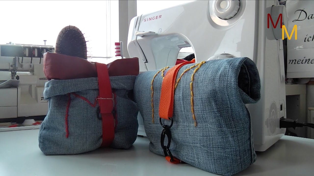 upcycling diy waschtasche aus alter jeans gen ht youtube. Black Bedroom Furniture Sets. Home Design Ideas
