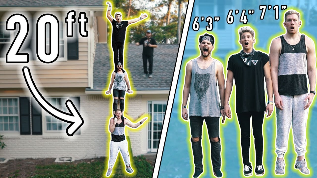 20ft TALL HUMAN RECORD! 7ft TALL GUY & TWO 6ft TALL GUYS ...
