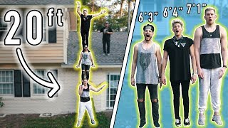 20ft TALL HUMAN RECORD! 7ft TALL GUY & TWO 6ft TALL GUYS!