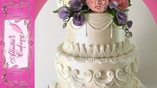 Spring Floral Wedding Cake Long tutorial Lambeth style