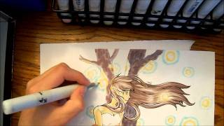 100 Subscriptions and Copic Marker Speedpaint: Firefly Night