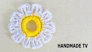 ЦВЕТОК РОМАШКА КРЮЧКОМ своими руками How to Crochet a Camomile Flower TUTORIAL