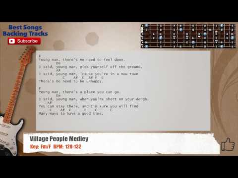 Village People Medley Guitar Backing Track with chords and lyrics