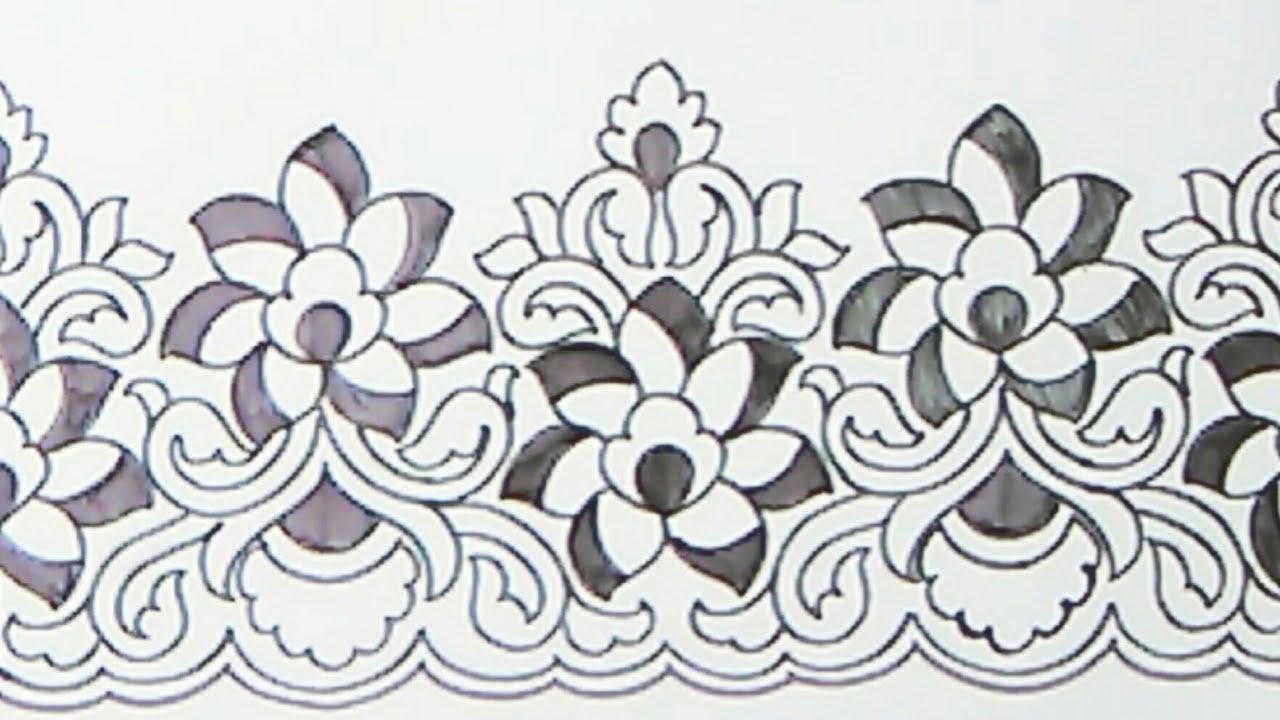 saree border designs drawing border design patterns