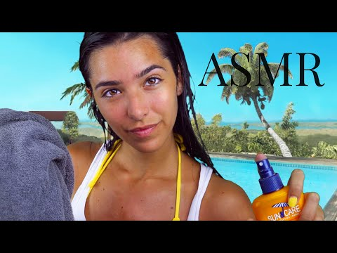 ASMR Relaxing by the Pool (Personal attention, Face touching, Lotion Sounds, Inaudible whispers..)