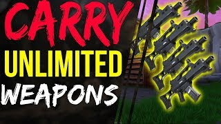 Fortnite Battle Royale UNLIMITED WEAPONS and SUPPLIES Glitch How to Carry Unlimited weapons and gear