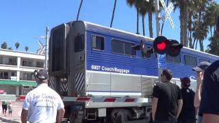 Amtrak Pacific Surfliner Train at San Clemente Railroad Crossing