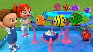 Color Fishes Slider Toy Set - Learning Numbers for Children with Babies Fun Play Toys 3D Kids
