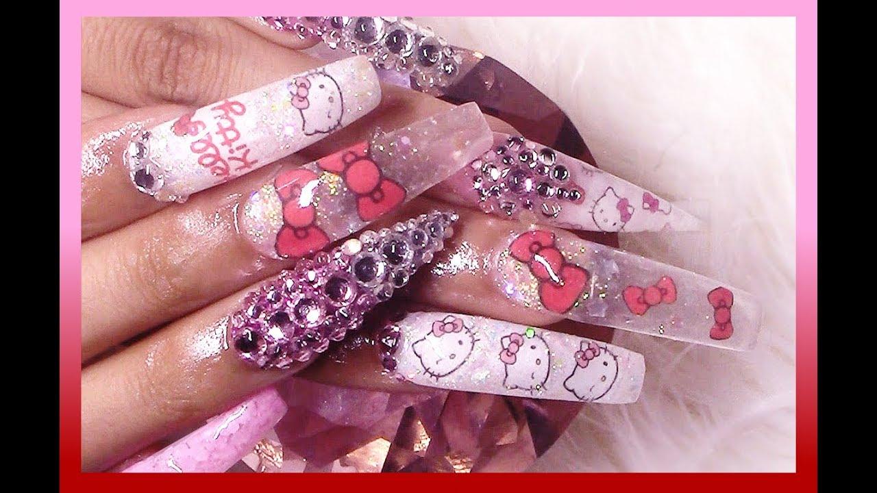 kitty acrylic nails full