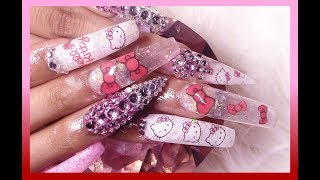 Hello Kitty Acrylic Nails Full Set Tutorial