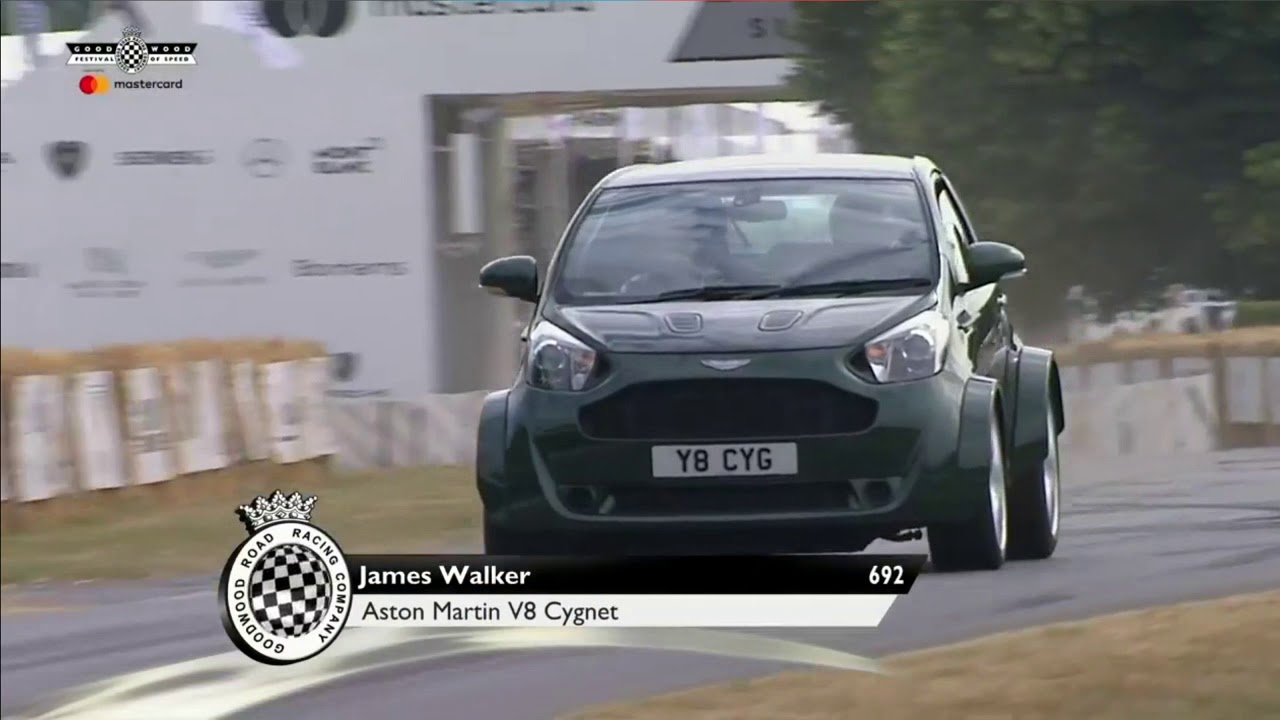 V8 Powered Aston Martin Cygnet Nearly Does A Backflip At Goodwood