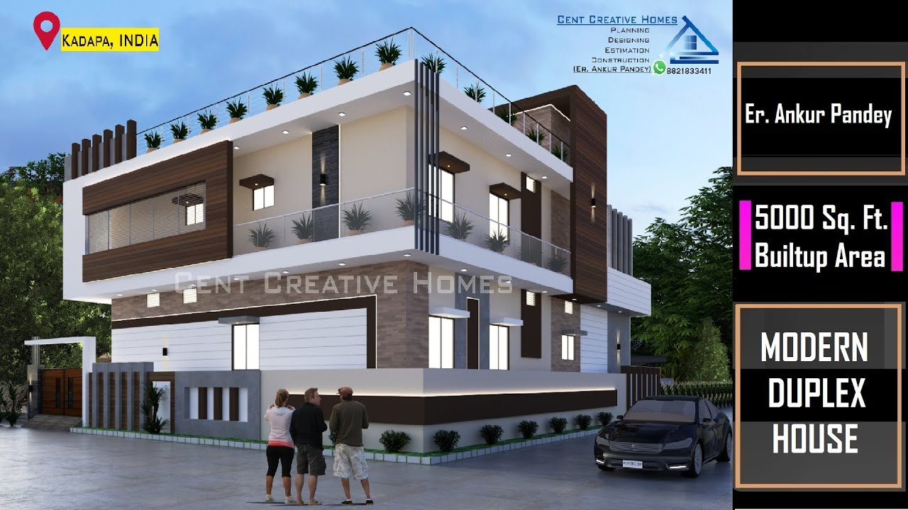Modern Duplex House Design In India Home Design Exterior Interior 5000 Sq Ft Built Up Area Youtube