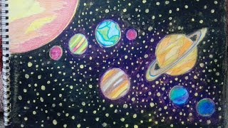 How to draw solar system step by step/ How to draw planets step by step