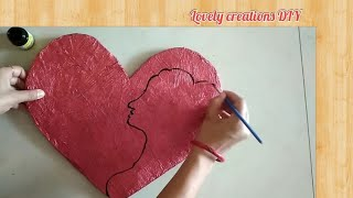 DIY heart ♥ shape wall hanging for mother's day ll mother and baby painting ll