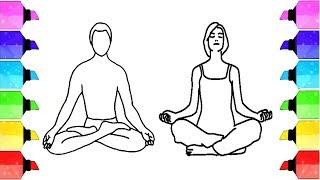 yoga drawing meditation drawings easy paintingvalley steps