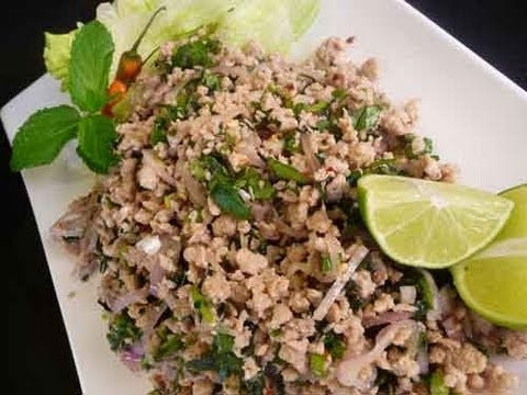 Thai Larb Spicy Chicken Salad (Laab Gai) Recipe - YouTube