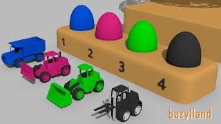Suprise egg Learn Colors - Vehicles for Kids and Babies construction and use - Guess the Egg