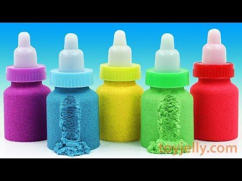 Making Kinetic Sand Baby Milk Bottle DIY Learn Colors Nursery Rhymes Play Doh Surprise Eggs for Kids