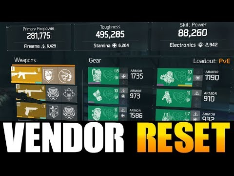 THE DIVISION - GREAT VENDOR RESET   GOD ROLL WEAPONS, GEAR & GEAR MODS! (YOU NEED TO BUY)