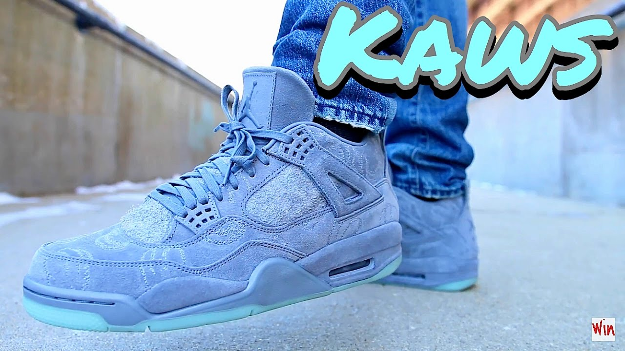 e1e9d7a2 KAWS X AIR JORDAN RETRO IV 4 - ON FEET! - YouTube