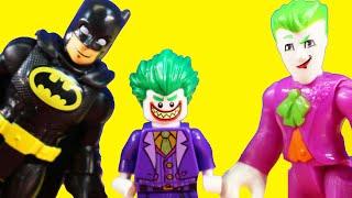 Lego Joker Jr. Drives Imaginext Batman Batbot Robot While Spider-man is Snoring