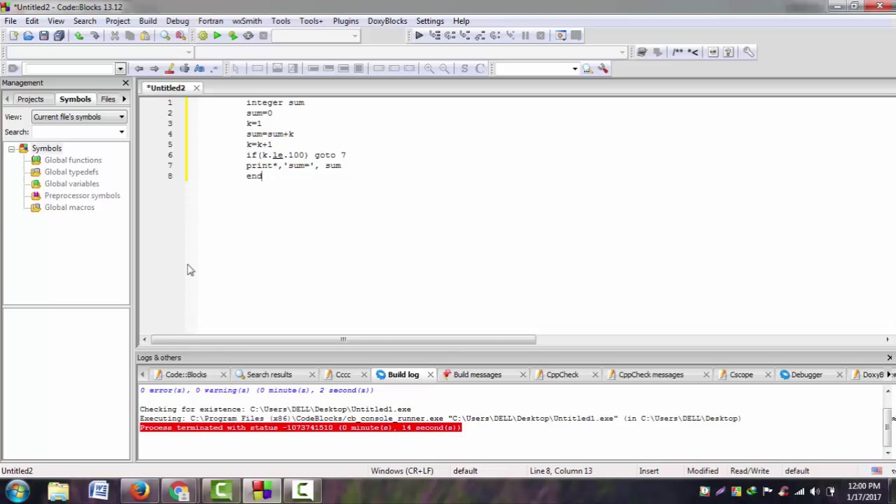 Control Statements: write a fortran program to find the sum of the series  number 1 to 100