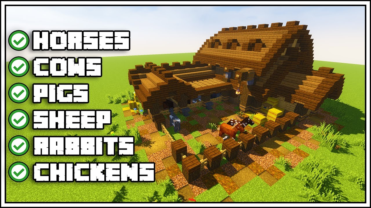 Minecraft Ultimate Barn Tutorial How To Build Youtube