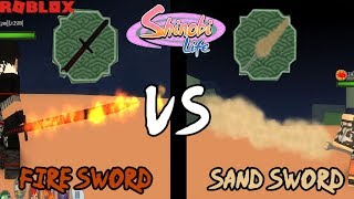 Fire Sword VS Sand Sword Which will win? | Shinobi Life - Roblox