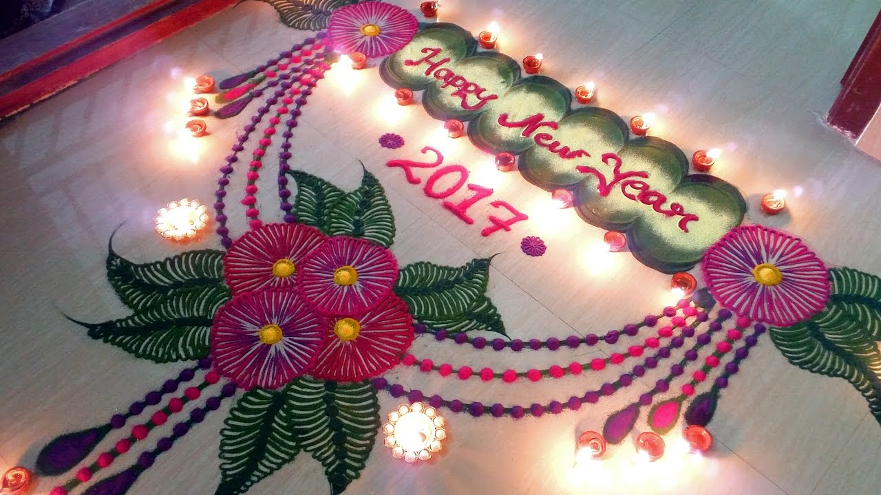 Happy New Year Best Rangoli 14